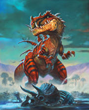 Картинка Hearthstone: Heroes of Warcraft Динозавры Swamp King Dred Игры
