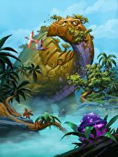 Картинки Hearthstone: Heroes of Warcraft Динозавры Verdant Longneck Игры