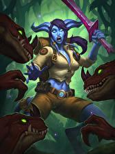Картинка Hearthstone: Heroes of Warcraft Динозавры Воители Мечи Инопланетяне Cornered Sentry Игры Девушки Фэнтези