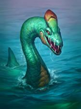 Обои Hearthstone: Heroes of Warcraft Динозавры Вода Sated Threshadon Игры