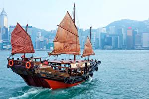 Картинка Гонконг Море Парусные Китай Речные суда Города