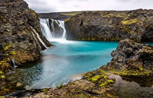 Фотография Исландия Водопады Утес Sigoldufoss waterfall