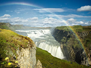 Картинки страна гейзеров Водопады Небо Пейзаж Радуга Мох Облака Gullfoss waterfall