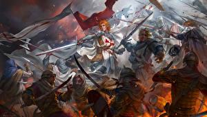 Фото Иллюстрации к книгам Битвы Рыцарь Воины Мечи Броня The Story of the Vampire Michaela, Templars vs Saracens Фэнтези