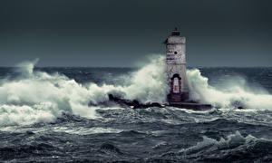 Фотографии Италия Море Маяки Волны Mangiabarche Calasetta Природа