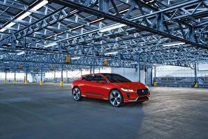 Обои Jaguar Красный Металлик 2016 I-Pace Concep Автомобили