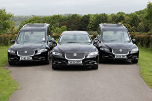 Картинка Jaguar Втроем Черные Металлик Спереди Jaguar XJ Автомобили