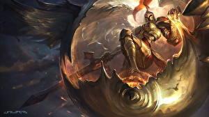 Картинка League of Legends Рыцарь Магия Броня Копья Judicator, Kayle Игры Фэнтези