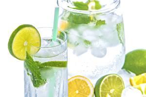 Обои Лайм Напиток Лимонад Стакан Продукты питания