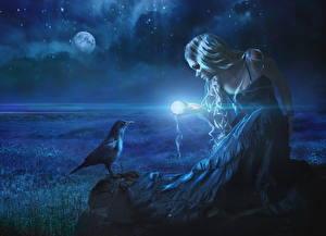 Фотография Магия Вороны Ночь Блондинка Луна Платье Фэнтези