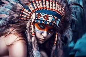 Фотографии Маски Индейский головной убор Индейцы Смотрит Dmitry Arhar Девушки