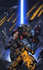 Фотографии Mass Effect Воители Пистолеты Вдвоем Броня Инопланетяне Garrus Vakarian, Turian, C-Sec Игры Девушки Фэнтези