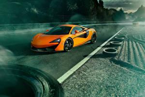 Картинка McLaren Оранжевый Покрышка 2016 Novitec 570S машины
