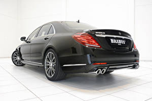 Фотографии Mercedes-Benz Brabus Вид Черный Фары Седан Металлик Гибридный автомобиль S-Klasse W222, 2015, B50 Авто