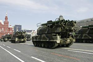 Картинки Ракетные установки Праздники 9 мая Военный парад Русские Buk-M2 9А317 SA-17 Grizzly