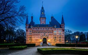 Фотография Нидерланды Замки Ночные Уличные фонари Кусты Castle Wijchen