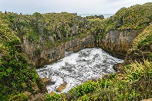 Фотография Новая Зеландия Парки Водопады Утес Paparoa National Park Природа