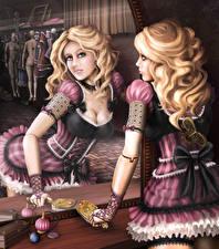 Обои Рисованные Блондинка Зеркало Платье Униформа Бантик Девушки