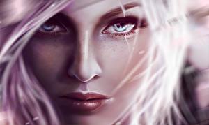 Фотография Рисованные Крупным планом Лицо Блондинка Смотрит Нос Девушки