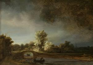 Обои Живопись Мосты Лодки Rembrandt Harmenszoon van Rijn, Landscape with a Stone Bridge