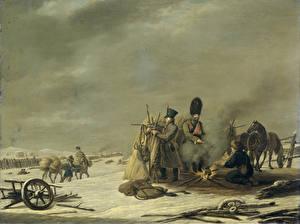 Фотография Картина Солдаты Костер Johannes Hari, Nachtkwartier te Molodetschno, 3-4 december 1812 episode uit de terugtocht van keizer Napoleon uit Rusland