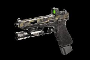 Обои Пистолеты Крупным планом Черный фон G34, FI Mk 3 Армия