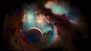 Фотография Планеты Туманности в космосе
