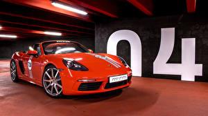 Фотографии Porsche Красные Металлик Родстер 2017 MTM 718 Boxster машина