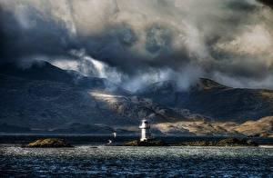 Фотографии Шотландия Маяки Горы Вечер Море Берег Облака Argyle