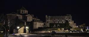 Картинки Испания Замки Ночные Уличные фонари Castillo de Tamarit Tarragona