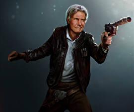 Картинка Звездные войны Пистолет Харрисон Форд Куртки Старый мужчина Fan ART han solo