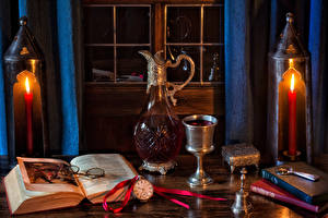 Фотография Натюрморт Вино Свечи Часы Кувшин Бокалы Книга Пища
