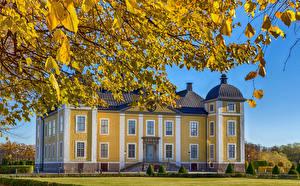 Фотографии Стокгольм Замки Швеция Осень Ветвь Stromsholm Города