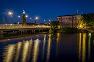 Фотография Стокгольм Швеция Здания Реки Мосты Ночные Уличные фонари