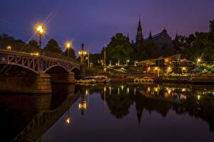 Фотография Стокгольм Швеция Речка Мосты Причалы Ночные Уличные фонари