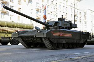 Картинка Танки Праздники День Победы Военный парад Русские T-14 Armata