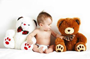 Фото Мишки Белый фон Младенца Сидящие Ребёнок
