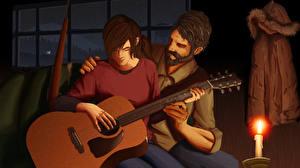 Фото The Last of Us Свечи Мужчина Вдвоем Гитары Фан АРТ Ellie, Joel Игры Девушки