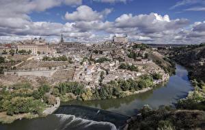 Обои Толедо Испания Здания Речка Водопады Облака