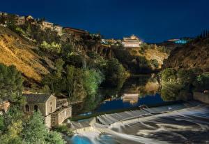 Обои Толедо Испания Здания Речка Водопады Вечер Утес Деревья Природа