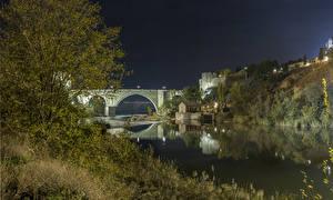 Картинка США Крепость Реки Мосты Ночь Santa Ana