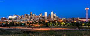 Обои США Дома Небоскребы Дороги Вечер Denver Города
