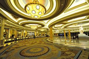 Фото Штаты Интерьер Лас-Вегас Дорогие Потолок Люстры Казино Caesars Palace