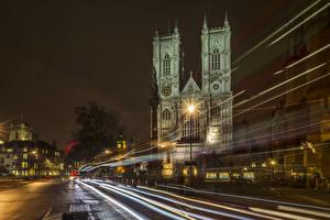 Фотографии Великобритания Здания Дороги Лондон Ночные Уличные фонари Едущий Города