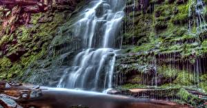 Обои Великобритания Водопады Мох Middle Black Clough Waterfall