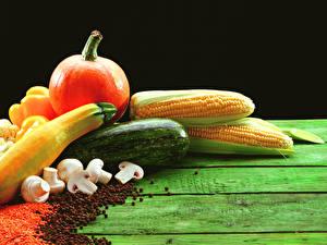 Картинки Овощи Кукуруза Тыква Грибы Доски Продукты питания