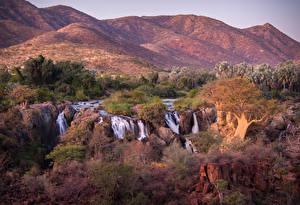 Фотографии Водопады Холмы Кусты Oncocua Angola Природа