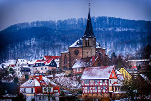 Картинка Зимние Здания Германия Снег Lengenfeld unterm Stein, Thuringia Города