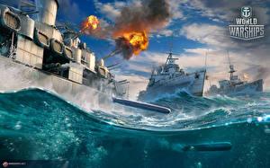 Картинка World Of Warship Корабли Британский Стрельба Cruisers Игры Армия