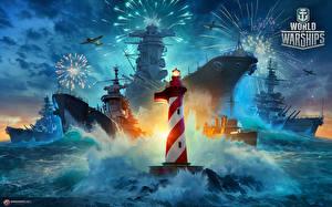 Фотографии World Of Warship Корабли Маяки Игры Армия